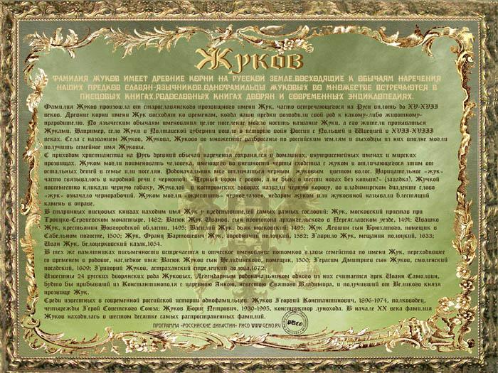 Статьи cправочные материалы Диплом фамилии Жуков