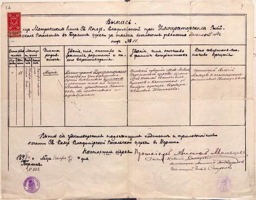 Выпись о рождении и крещении М.С. Булгаковой. От 15 декабря 1898 г.  Ф.363, оп.4, д.4249, л.8об-9.